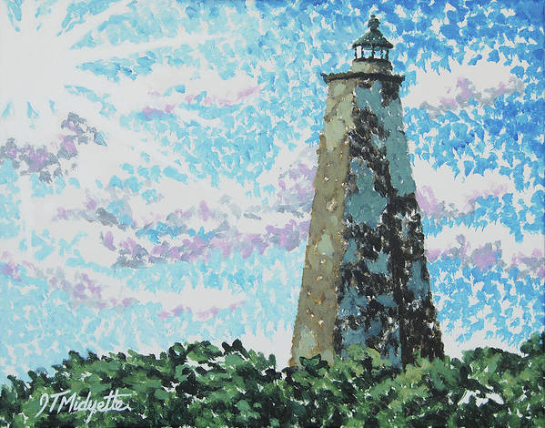 Old Baldy Art Print featuring the painting Old Baldy Lighthouse by Tommy Midyette
