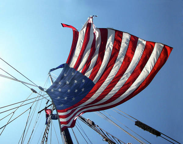 Flag Art Print featuring the photograph Old Glory Blowing In The Breeze by Helaine Cummins