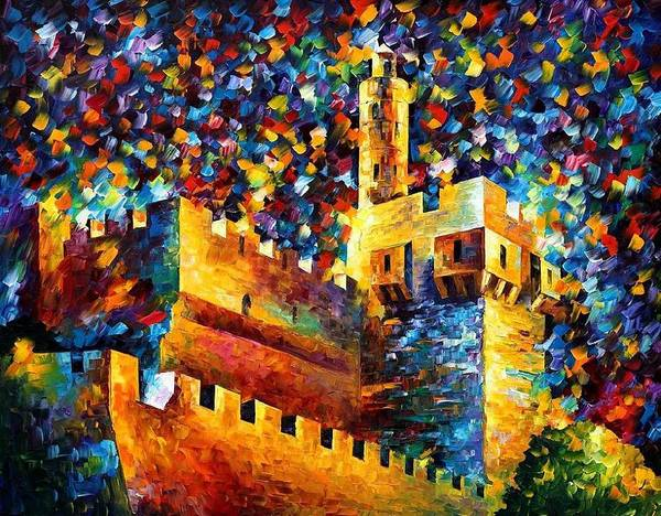 Afremov Print featuring the painting Old Jerusalem by Leonid Afremov