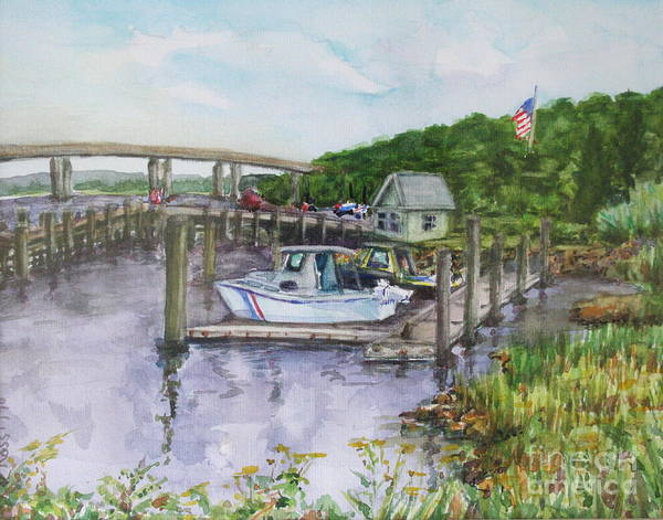 Boatyard Art Print featuring the painting Old Lyme Boat Yard At The Dep by B Rossitto