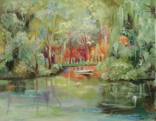 Bayou Art Print featuring the painting On A Bayou by Ginger Concepcion