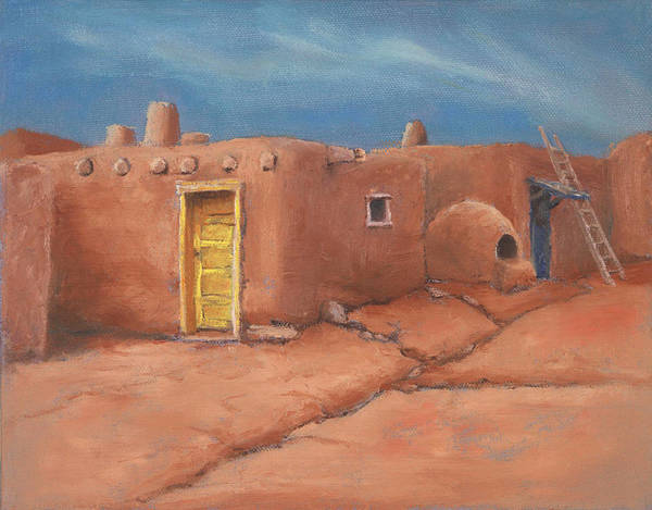 Taos Art Print featuring the painting One Yellow Door by Jerry McElroy