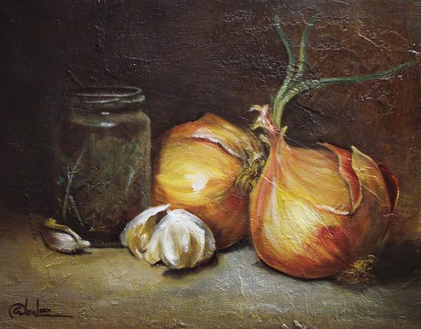 Vegetables Art Print featuring the painting Onions And Garlic by Alex Loza