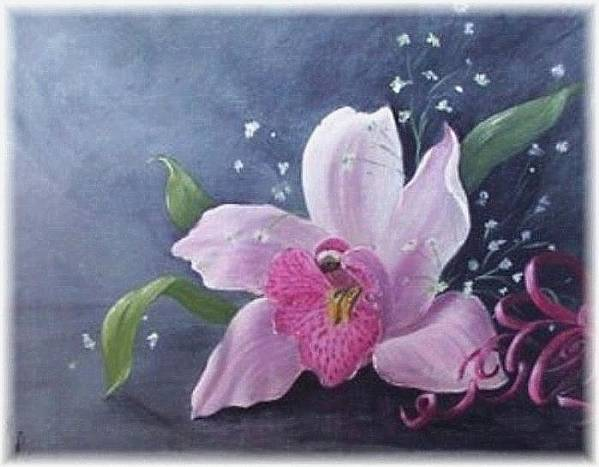 Orchid Art Print featuring the painting Orchid by Rita Palm
