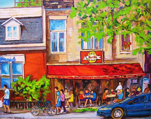 Montreal Art Print featuring the painting Outdoor Cafe by Carole Spandau
