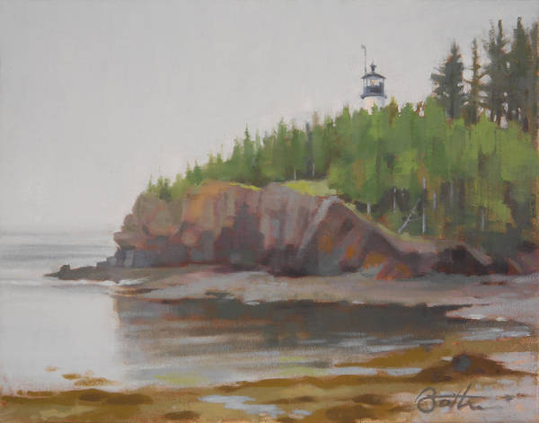Lighthouse Art Print featuring the painting Owls Head by Todd Baxter