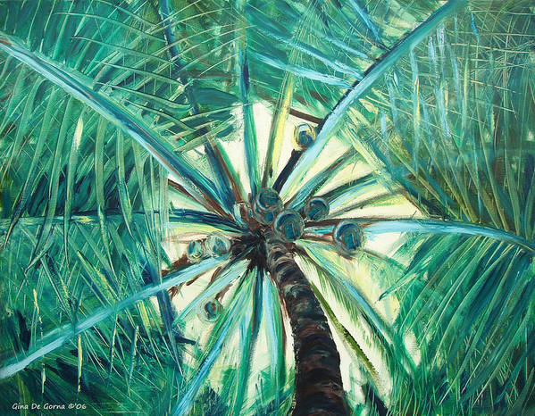 Palm Tree Art Print featuring the painting Palm Tree by Gina De Gorna