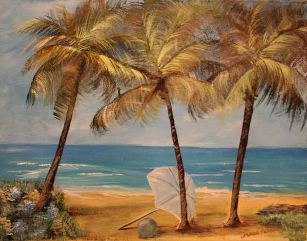 Beach Art Print featuring the painting Palm's Beach by Dyanne Parker