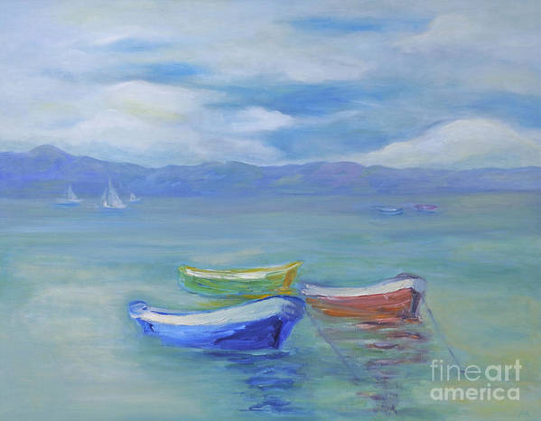 Water Landscape Art Print featuring the painting Paradise Island Boats by Barbara Anna Knauf