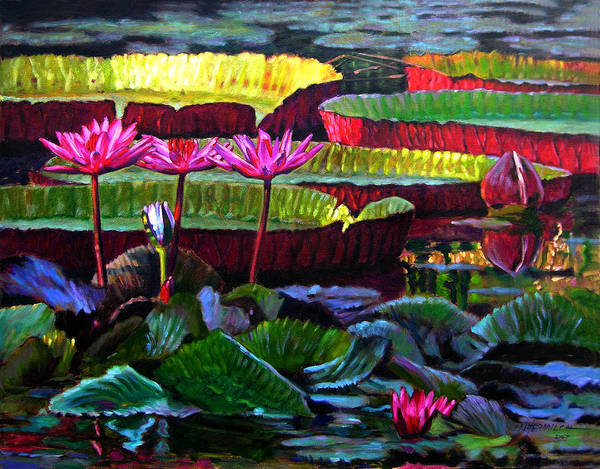 Water Lilies Art Print featuring the painting Patterns Of Color And Light by John Lautermilch