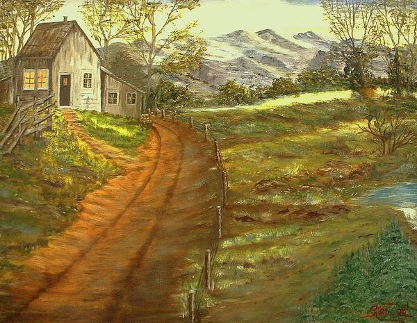 Landscape Art Print featuring the painting Peaceful Country by Kenneth LePoidevin