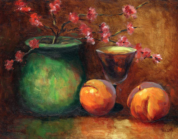 Peaches Art Print featuring the painting Peach Blossoms by Linda Hiller