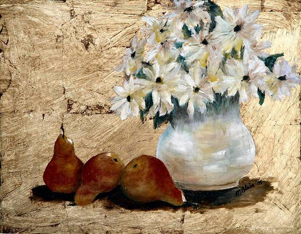 Fruit Art Print featuring the painting Pears On Gold by Merle Blair