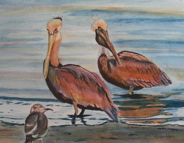 Pelicans Art Print featuring the painting Pelican Party by Karen Ilari