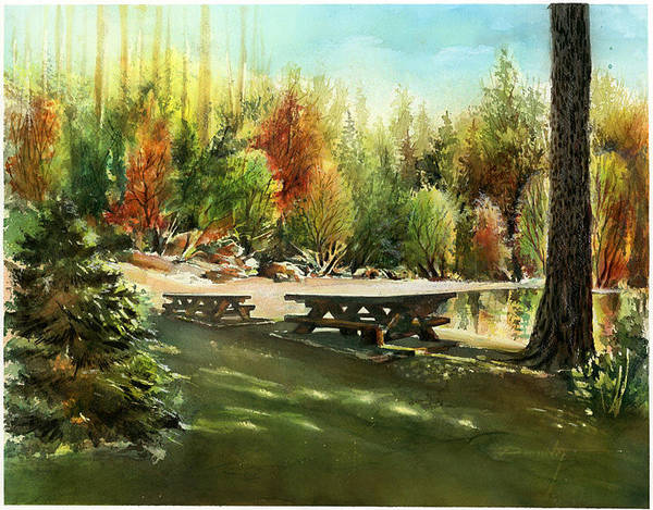 Landscape Art Print featuring the painting Picnick Tables by Dumitru Barliga
