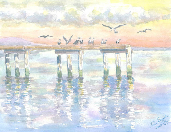 Pier Art Print featuring the painting Pier Jury by Dan Bozich