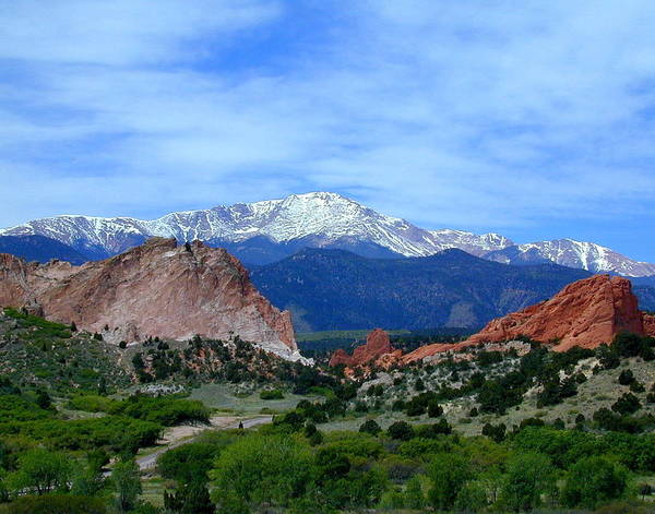 Mountain Art Print featuring the photograph Pikes Peak And Garden Of The Gods 1 by Joseph R Luciano