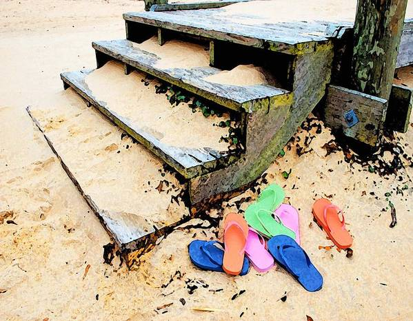 Alabama Pelican Art Print featuring the digital art Pink And Blue Flip Flops By The Steps by Michael Thomas