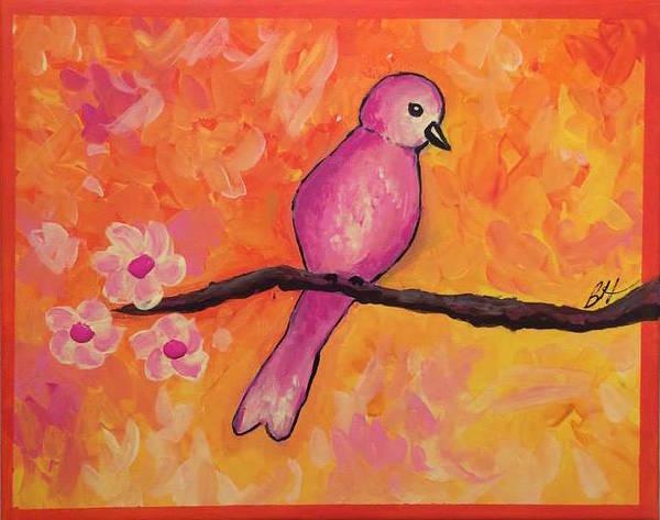 Bird Art Print featuring the painting Pink Bird by Burgundy Hanna