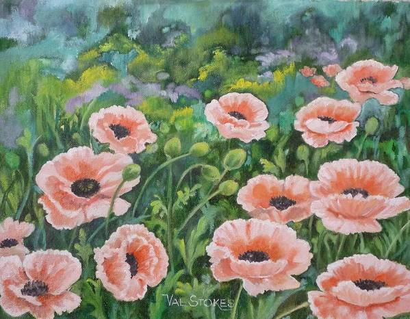 Flowers Art Print featuring the painting Pink Poppies by Val Stokes