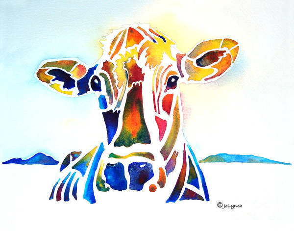 Cow Art Print featuring the painting Placid The Cow by Jo Lynch