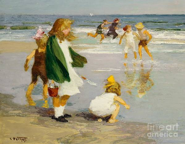 Children; Male; Female; Girl; Girls; Playing; Play; Surf; Beach; Seaside; Holiday; Vacation; Fun; Running; Windy; Summer; Summertime; Innocence; Childhood; Paddling; Vacations Art Print featuring the painting Play In The Surf by Edward Henry Potthast