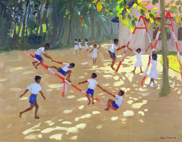 Children Art Print featuring the painting Playground Sri Lanka by Andrew Macara