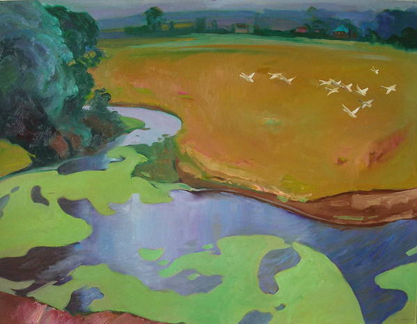 Landscape Art Print featuring the painting Polesia by Sergey Ignatenko