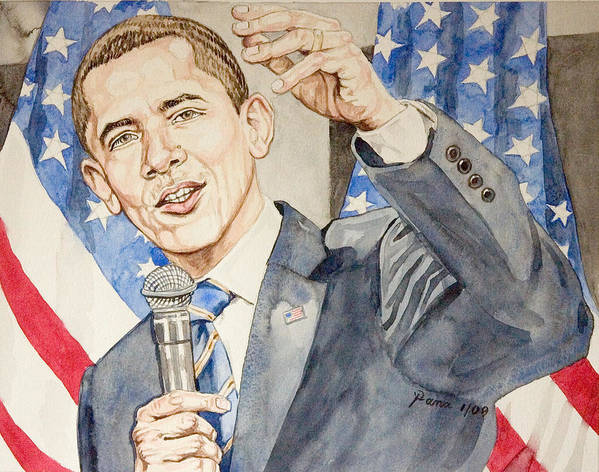 President Barack Obama Art Print featuring the painting President Barack Obama Speaking by Andrew Bowers