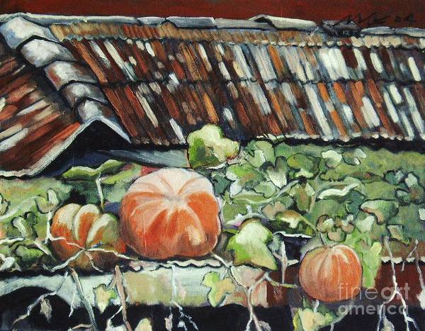 Pumpkin Paintings Art Print featuring the painting Pumpkins On Roof by Seon-Jeong Kim