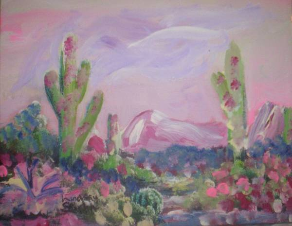Landscape Art Print featuring the painting Purple Surprise by Lindsay St john