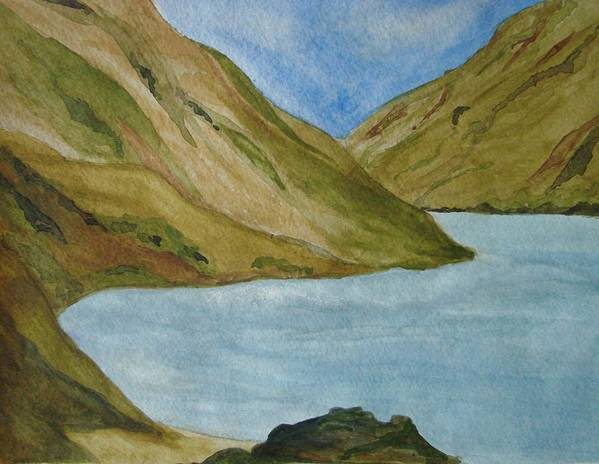 Landscape Art Print featuring the painting Quiet Bay by Liz Vernand