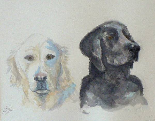 2 Dogs Art Print featuring the painting Quincy And Bodie by Dan Bozich