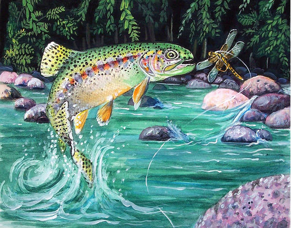 Fish Art Print featuring the print Rainbow Trout by Bette Gray