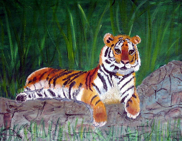 Animal Art Print featuring the painting Rajah by Marcia Paige