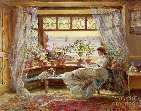 Dog Art Print featuring the painting Reading By The Window by Charles James Lewis