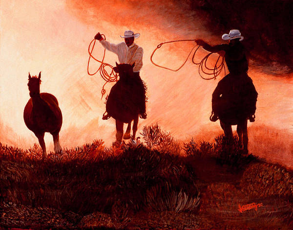 Western Art Print featuring the painting Real Cowboys Eat Dust by JoeRay Kelley