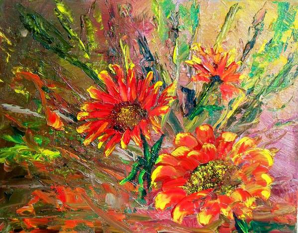 Flowers Art Print featuring the painting Red Hot Summer Flower by Lynda McDonald