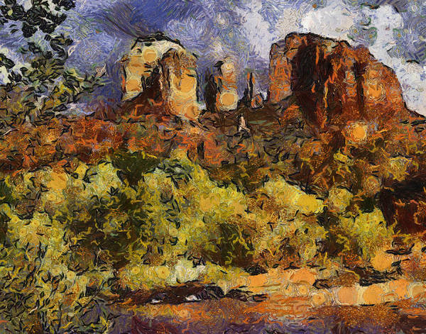 Red Rock Art Print featuring the digital art Red Rock Crossing by Elaine Frink