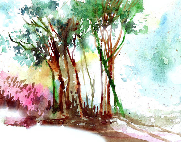 Landscape Art Print featuring the painting Red Trees by Anil Nene