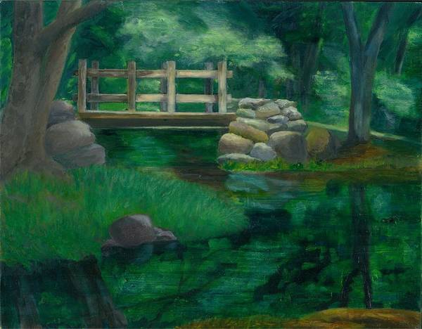 Summer Water Reflections Stream Bridge Landscape Rocks Green Park Art Print featuring the painting Reflections At Chatfield Hollow by Paula Emery