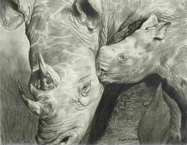 Rhino Art Print featuring the drawing Rhino Love by Carla Kurt