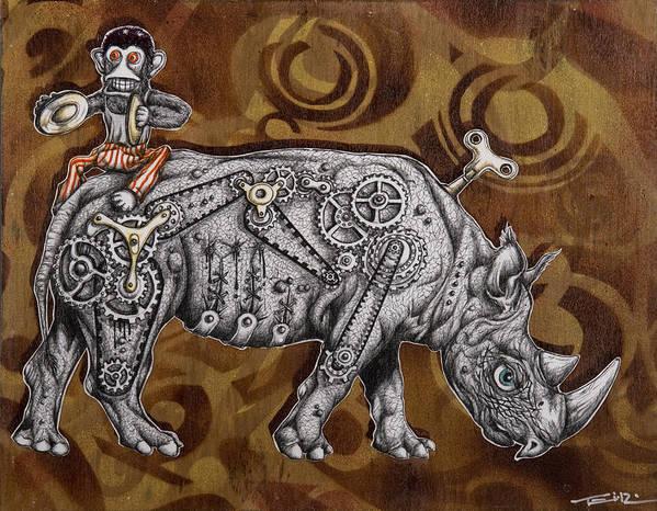 Rhino Art Print featuring the painting Rhino Mechanics by Tai Taeoalii