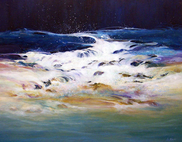 Acrylic Painting; Painting;water;ocean;rocks;transparent;surf;flowing Water;painting On Canvas; Art Print featuring the painting Rhythmic Flow by Lois Mountz