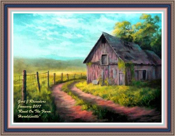 Farm Art Print featuring the painting Road On The Farm Haroldsville L A With Decorative Ornate Printed Frame. by Gert J Rheeders