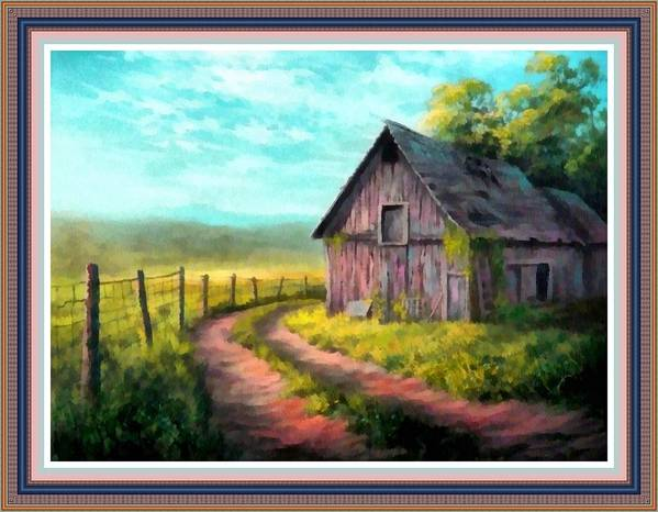 Farm Art Print featuring the painting Road On The Farm Haroldsville L B With Alt. Decorative Ornate Printed Frame.  by Gert J Rheeders
