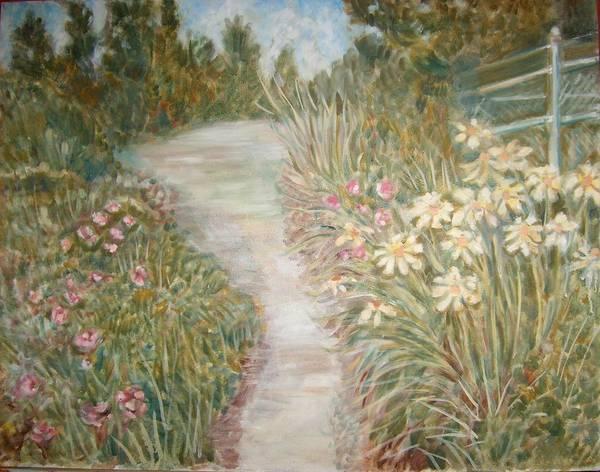 Landscape Flowers Bushes Trees Fence Art Print featuring the painting Road To Sebago by Joseph Sandora Jr