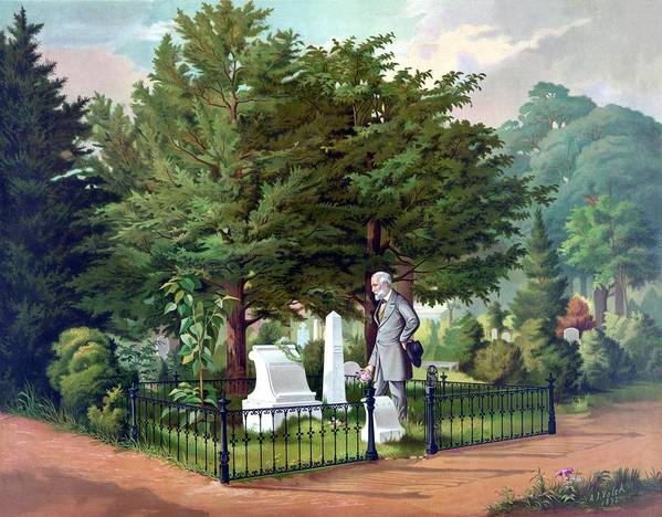 Robert E Lee Print featuring the painting Robert E. Lee Visits Stonewall Jackson's Grave by War Is Hell Store