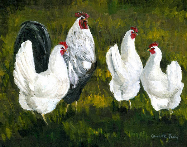 Rooster Art Print featuring the painting Rooster And Hens by Charlotte Yealey