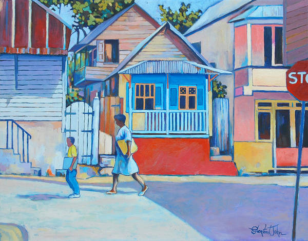 Caribbean Art Print featuring the painting Roseau by Glenford John